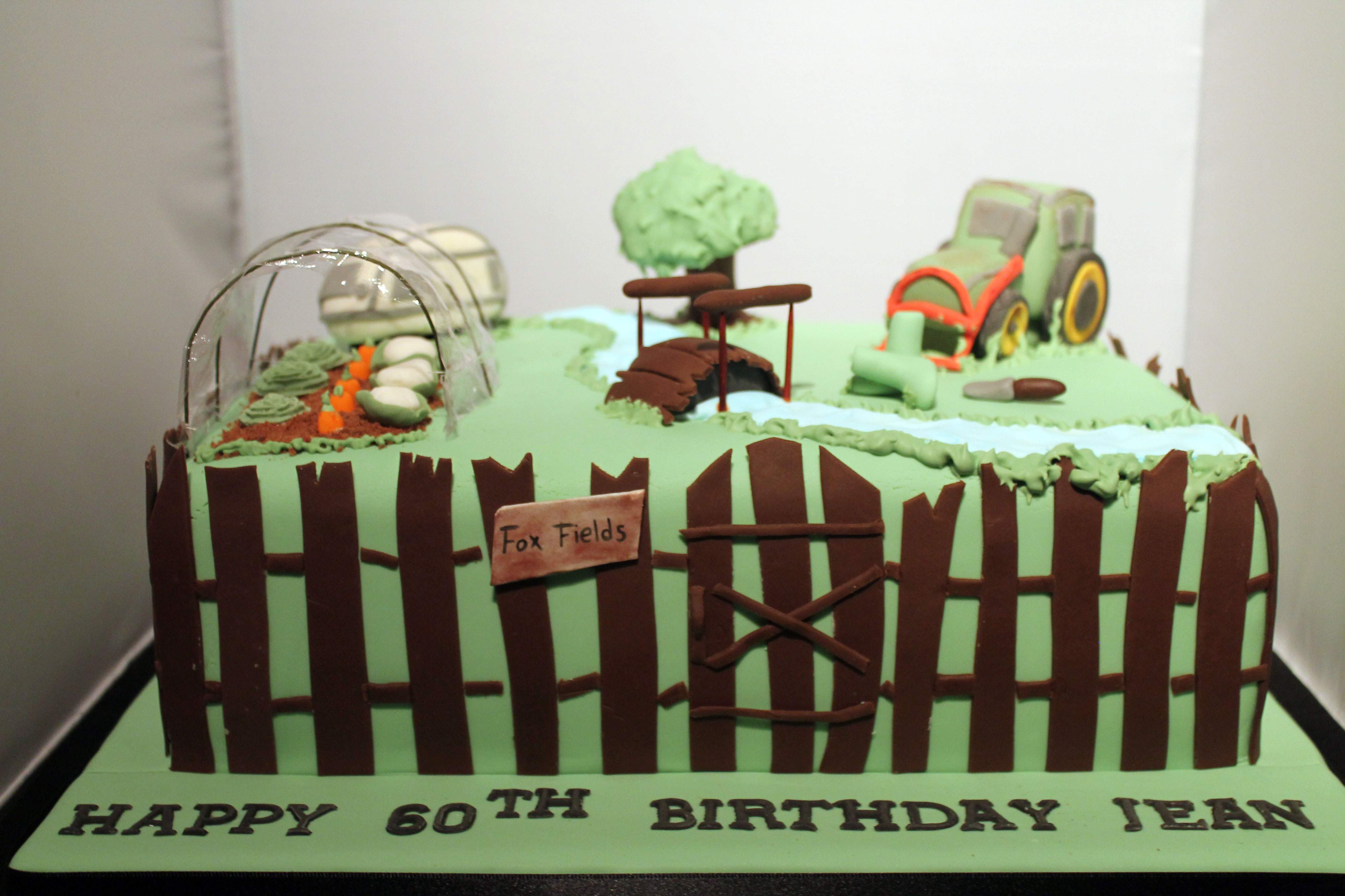 Garden Cake with Tractor